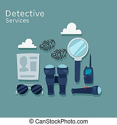 Detective services vector flat illustration. Magnifying ...