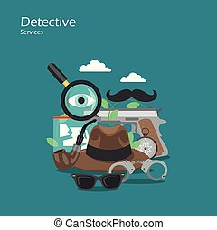 Detective services vector flat style design illustration - ...