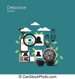 Detective services vector flat style design illustration. ...