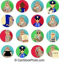 detective, set, particulier, iconen