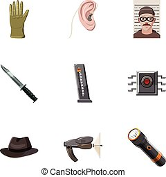 detective, set, stijl, spotprent, iconen