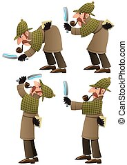 Detective Set - Set of 4 illustrations of cartoon detective....