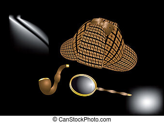 Sherlock Holmes kit - Detective Sherlock Holmes kit on dark...
