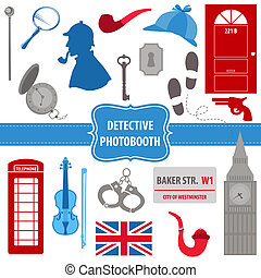 Detective Sherlock Party set - photobooth props - silhouettes, pipes, mask, hat - in vector