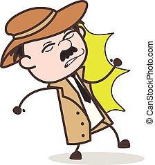 detective, slaan, illustratie, schaden, vector, gekregen, spotprent