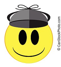 A detective in a deer stalker hat smile face button isolated on a white background