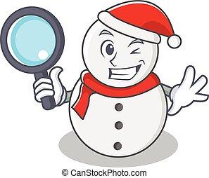 detective, sneeuwpop, stijl, karakter, spotprent