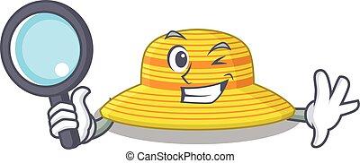 detective, sombrero, caricatura, herramientas, imagen, verano, utilizar