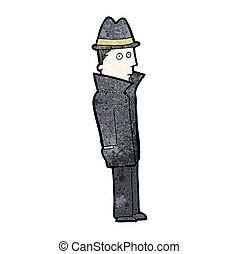 detective, spotprent, particulier