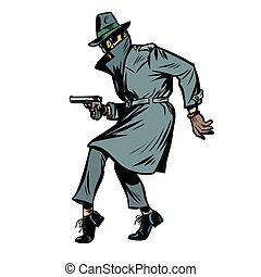 detective spy man with gun pose. isolate on white background