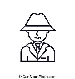 detective, spy, man with hat concept vector thin line icon, symbol, sign, illustration on isolated background
