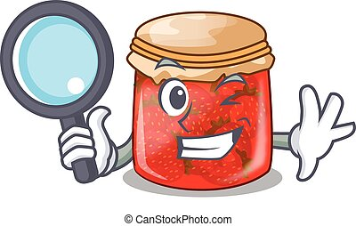 Detective strawberry marmalade in glass jar of cartoon