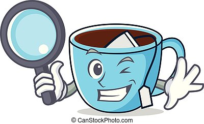 Detective tea cup character cartoon