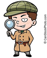 Detective - Vector illustration of Cartoon detective with...