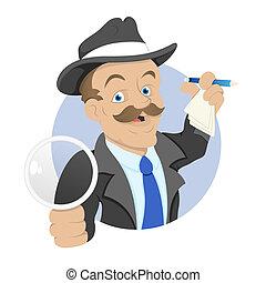 detective, vector, karakter, spotprent