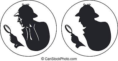 Detective vector silhouette. Man in hat, agent spy, private...
