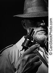 detective, verticaal, stijl, 1950s