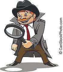 detective, vidrio, aumentar