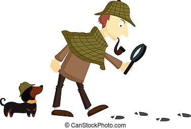 detective, vlakte, achtergrond