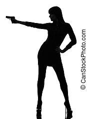 detective, vrouw, silhouette, geweer, vasthouden, sexy, mikkend