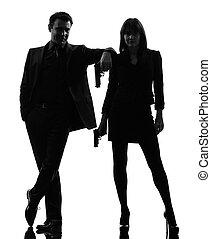 detective, vrouw, silhouette, paar, agent, geheim,...