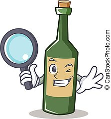 Detective wine bottle character cartoon