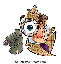 A cartoon investigator with a huge glass and eye, is looking at us