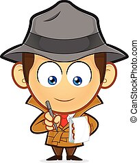 Detective with a notepad and pen - Clipart picture of a...