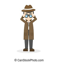 Detective with binocular. - Isolated detective with...