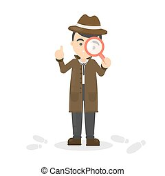 Detective with glass.