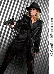 Detective Woman - Beautiful detective woman holding gun