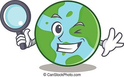 Detective world globe character cartoon