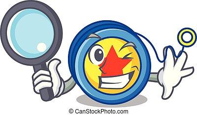 Detective yoyo character cartoon style vector illustration