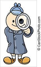 detective, zoals, -, vector, werken, geitje