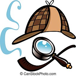Detectives hat, magnifying glass and smoking pipe