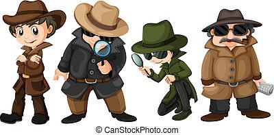 Detectives - Illustration of detectives set