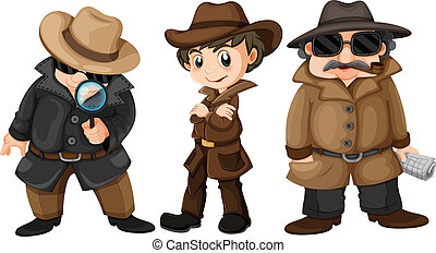 Detectives - Illustration of three detectives