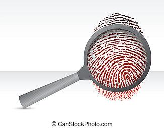 Detectives magnifier with fingerprint illustration design...