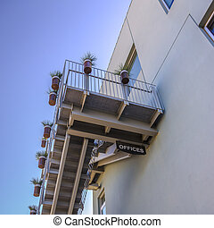 detektívek, épület, befőzött, lépcsősor, hivatal