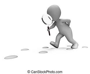 detektiv, ausstellung, fußabdrücke, zeichen, suchen, untersuchen, untersuchung, gefolgschaft, oder
