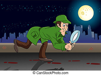 detektiv, durchsuchung, etwas