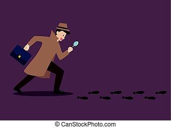 detektiv, fußabdrücke, glas, untersuchen, gefolgschaft, vergrößern