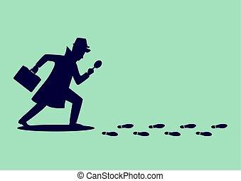detektiv, gefolgschaft, untersuchen, silhouette, fußabdrücke
