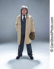 detektiv, graue , vorgesetzter, studio, hintergrund, älter, mafia, oder, mann