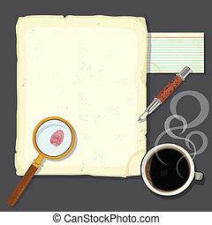 detektiver, skrivbord, mord, mysterium
