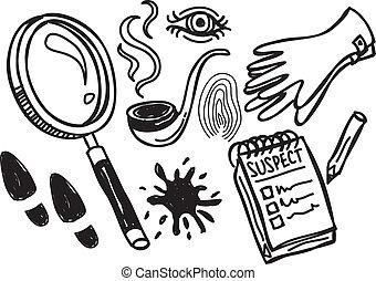 detektyw, doodle, materiał
