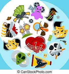 detektyw, płaski, genres, komplet, illustration., kino, film, przerażenie, ikony, rozrywka, pirat, dramat, kinematografia, wektor, przygoda, tło, rodzaj, komedia, czyn, film