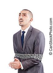 detenido, hombre de negocios, en, estudio, disparando