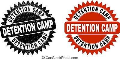 Black rosette DETENTION CAMP seal stamp. Flat vector grunge seal stamp with DETENTION CAMP caption inside sharp star shape, and original clean source. Imprint with scratched surface.
