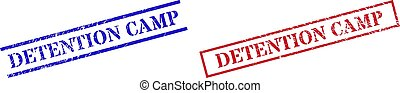 Grunge DETENTION CAMP rubber stamps in red and blue colors. Stamps have distress style. Vector rubber imitations with DETENTION CAMP tag inside rectangle frame, or parallel lines.